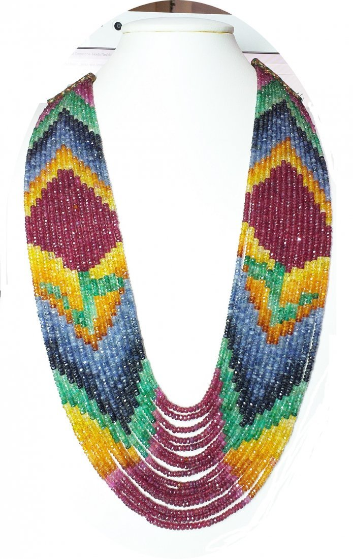 Ruby Sapphire Emerald Beads Necklace - 985 ct.