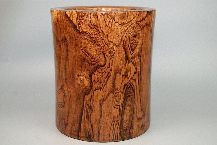 Vintage 1980 Chinese Huanghuali Wood Carved Brush Pot