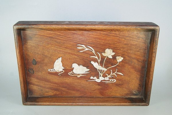 Old Chinese Mother of Pear Inlaid Rosewood Tray