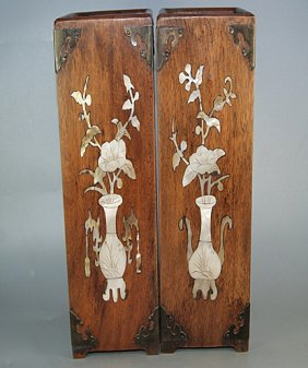 Fine Old  Pair Rosewood Mother of Pearl Inlaid Hat Box