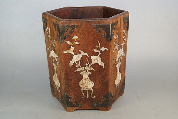 Fine Old Rosewood Mother of Pearl Inlaid Brush Pot