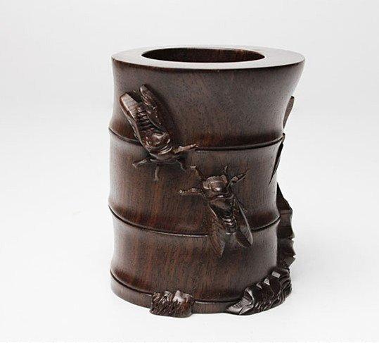 Fine VTG Chinese Rosewood Craved Brush Pot