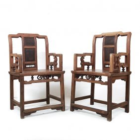 Fine Old Chinese  Rosewood  Arm Chairs