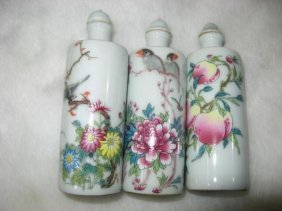 Fine Old Three Chinese Famille Rose Snuff Bottle