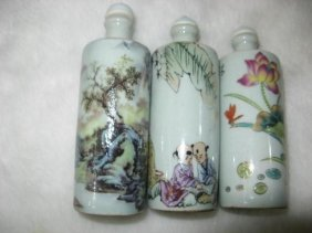 Fine Old Chinese Three Famille Rose Snuff Bottles