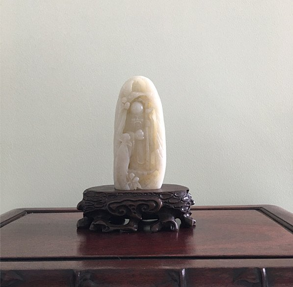 Wonderful Old Chinese  White Jade Longevity Deity Stand