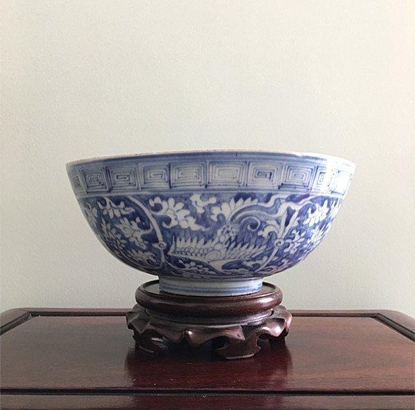 Rare Large Chinese B&W Phoenix Bowl
