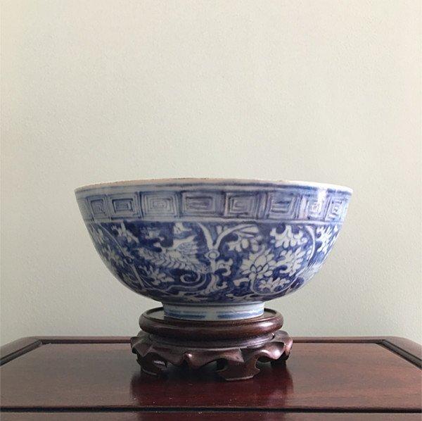 Rare Large Chinese B&W Phoenix Bowl - 2