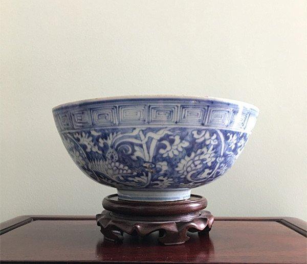 Rare Large Chinese B&W Phoenix Bowl - 3