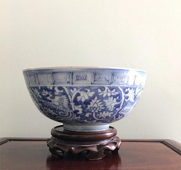 Rare Large Chinese B&W Phoenix Bowl - 4