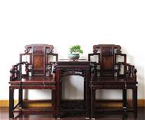 Fine Old Set Chinese Hardwood Arm Chairs & Tea Table