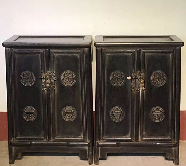Fine Old  Pair Chinese Rosewood Carved Studio Cabinets