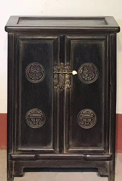 Fine Old  Pair Chinese Rosewood Carved Studio Cabinets - 3