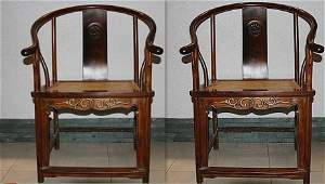 Rare Old Pair Chinese Huanghuali Wood Armchairs