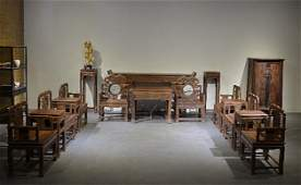 A Set of  Old Chinese Rose Wood  Hall Furniture