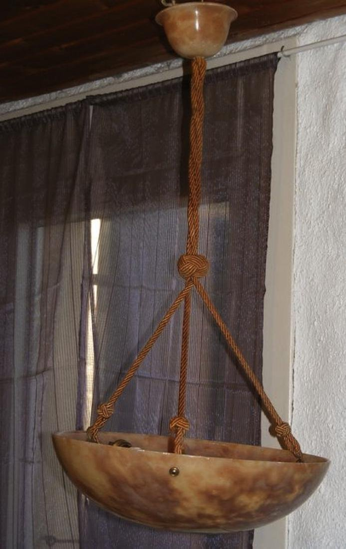 French Alabaster Hanging Light approx. 1900