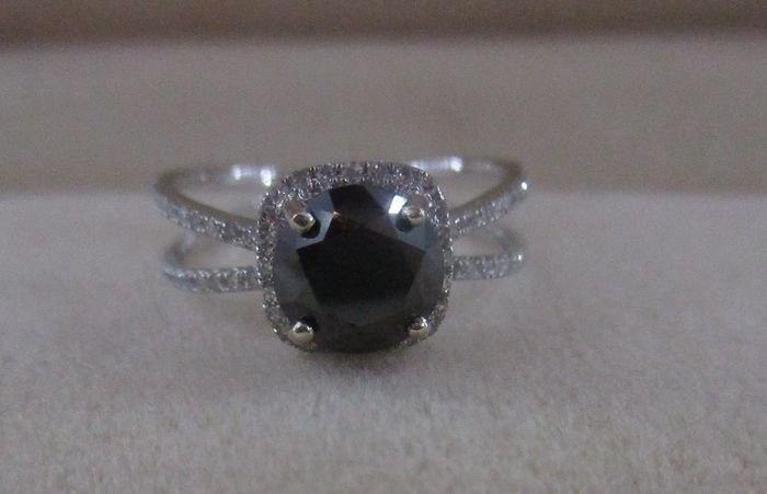 2 ct natural black diamond ring with side white diamond