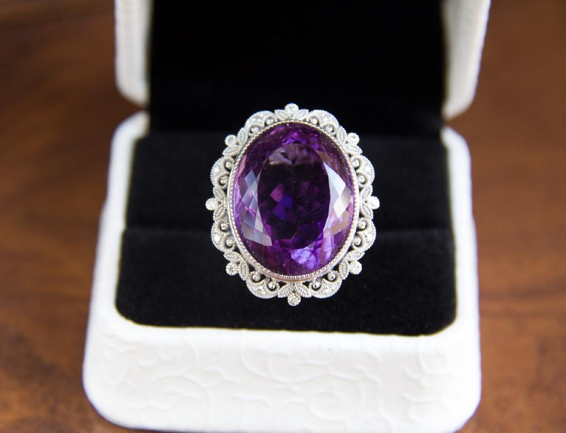22 ct natural amethyst ring with diamonds