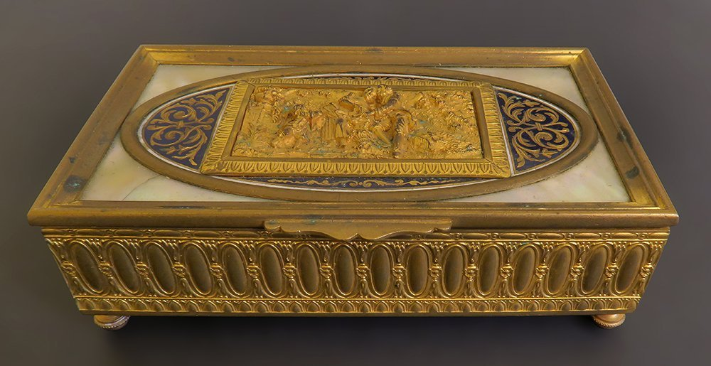 Superb Gilt Bronze Box With Champleve And Marble - 2
