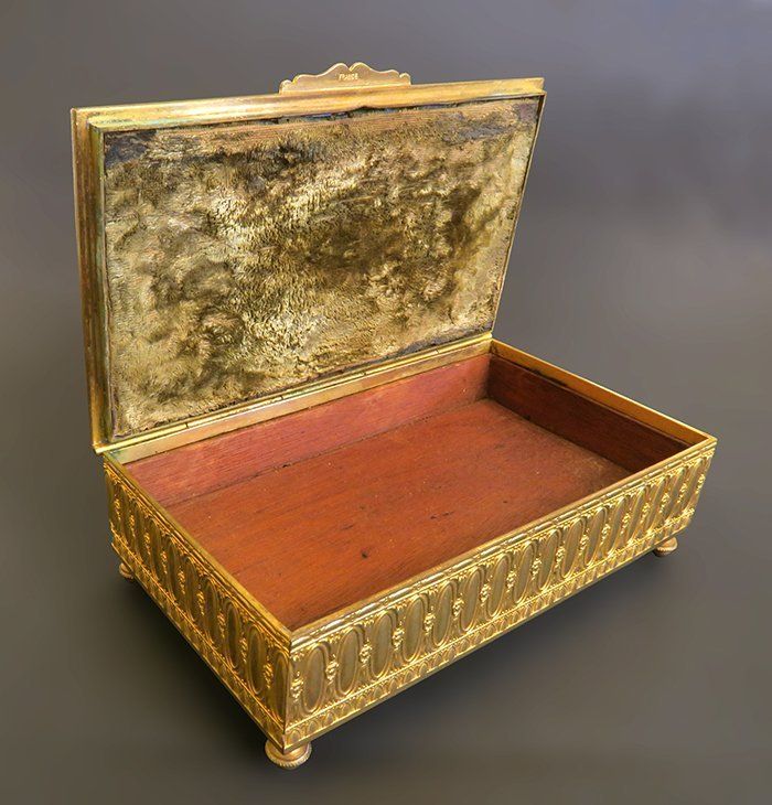 Superb Gilt Bronze Box With Champleve And Marble - 3