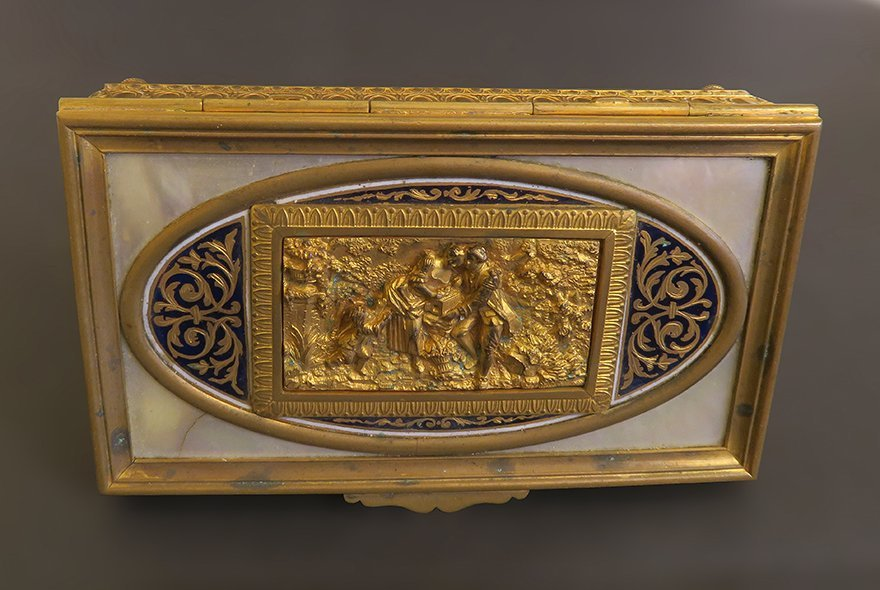 Superb Gilt Bronze Box With Champleve And Marble - 4
