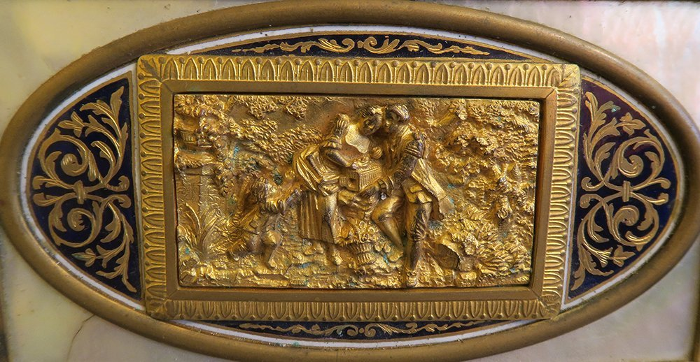 Superb Gilt Bronze Box With Champleve And Marble - 5