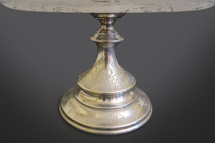 French Silver And Cut Crystal Cake Stand - 4