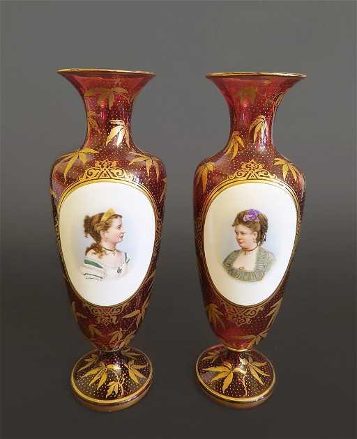 A Pair Of Bohemian Cranberry Glass Portrait Vases