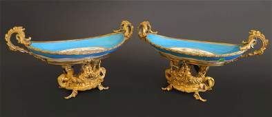 A Pair Of French Sevres and Gilt Bronze Centerpiece