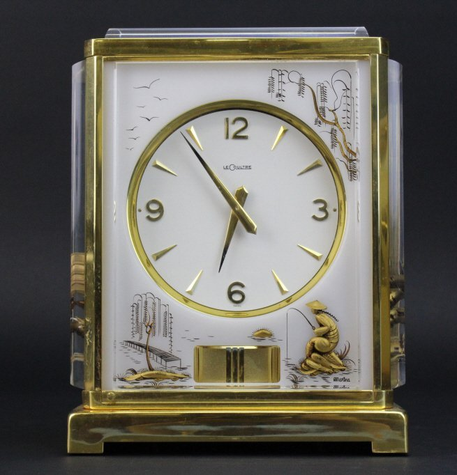 LeCoultre Asian Chinoiserie Lucite Atmos Mantle Clock