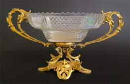 Magnificent Huge Cut Crystal Centerpiece Mounted Bronze