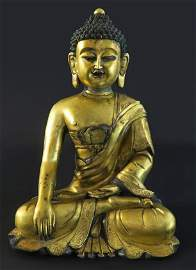 Chinese Gilt Bronze Seated Buddha Statue. 19th C.