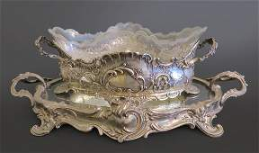 French Silver Centerpiece Mounted Crystal With Plateau