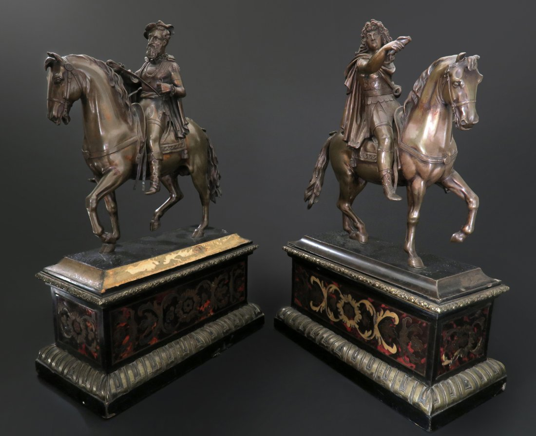 Pair of Bronze Statue Mounted on Wooden Stand.