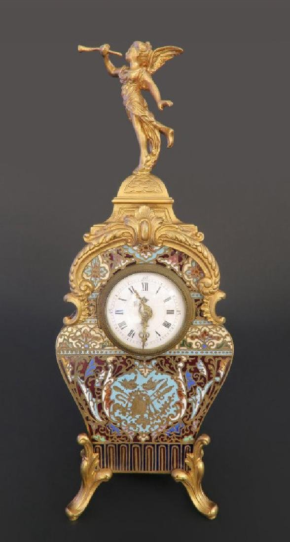 19th C. French Bronze Champleve Enamel Figural Clock