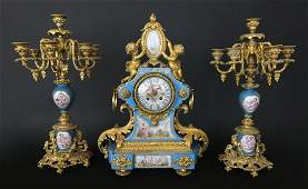 French Porcelain and Gilt Bronze Clock Set