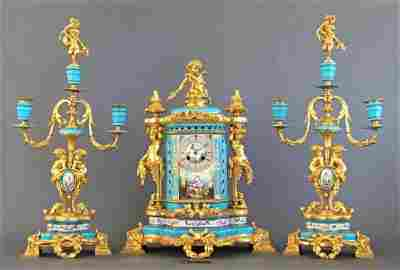 Sevres Porcelain & Bronze Jeweled Figural Clock Set