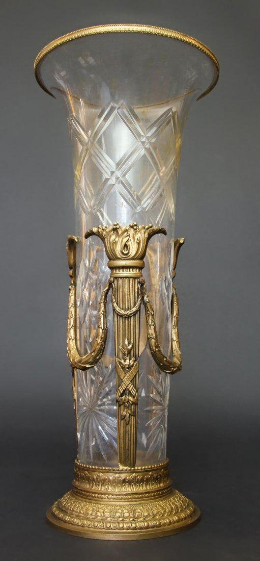 19th C. Bronze & Baccarat Crystal Vase