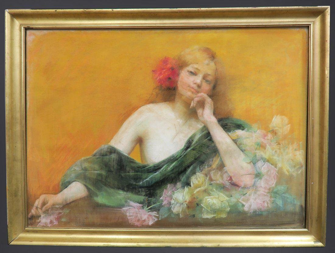 Early 20th painting of a lady pastel portrait
