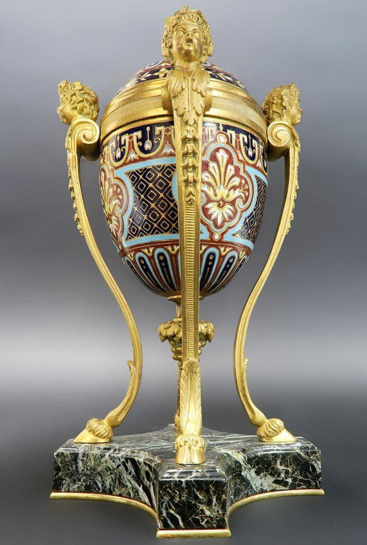 19th C. French Champleve Enamel & Bronze Figural Vase