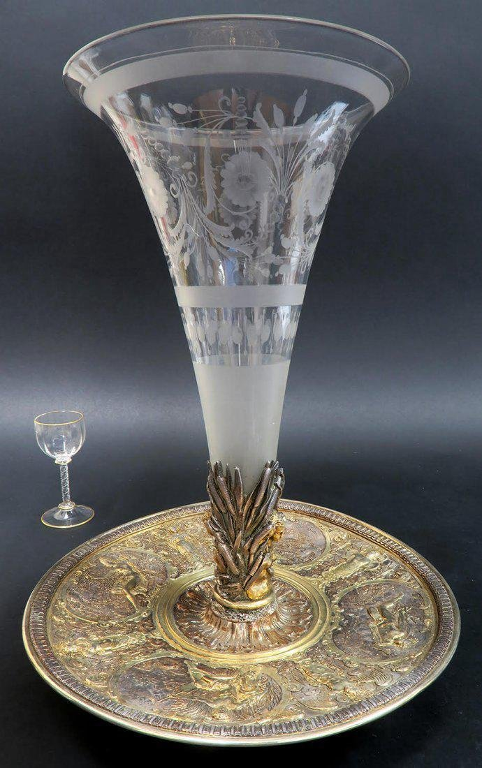 19th C. French Bronze and Baccarat Crystal Centerpiece