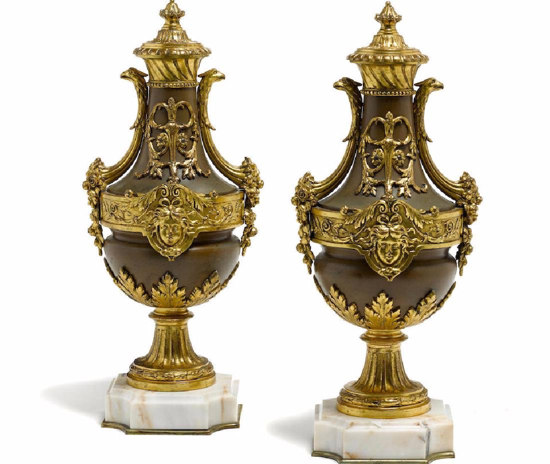 Pair of Louis XVI Style Gilt Bronze Mounted/Marble Urns