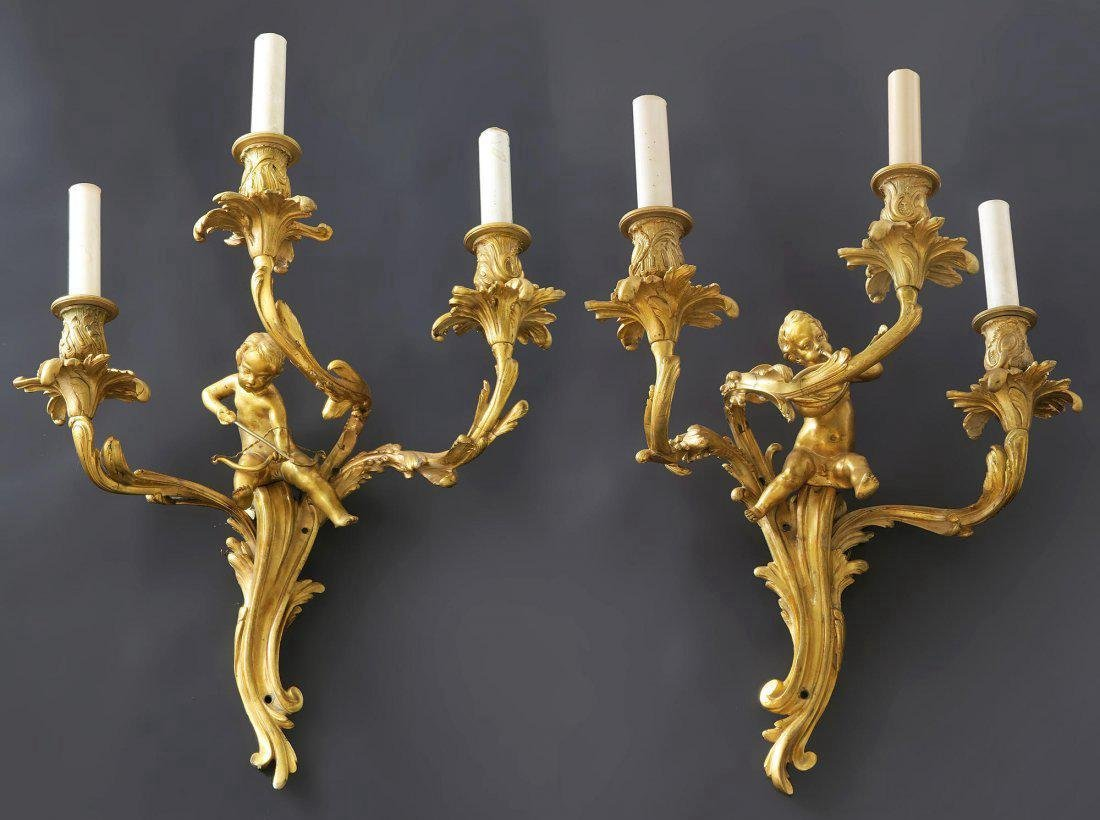 Fine Pair of French Figural Bronze Scones
