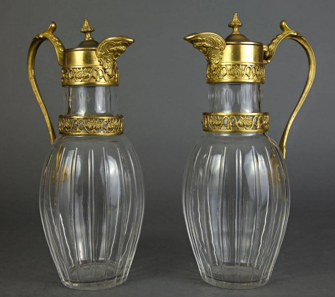 French Pair Figural Bronze & Baccarat Crystal Pitchers