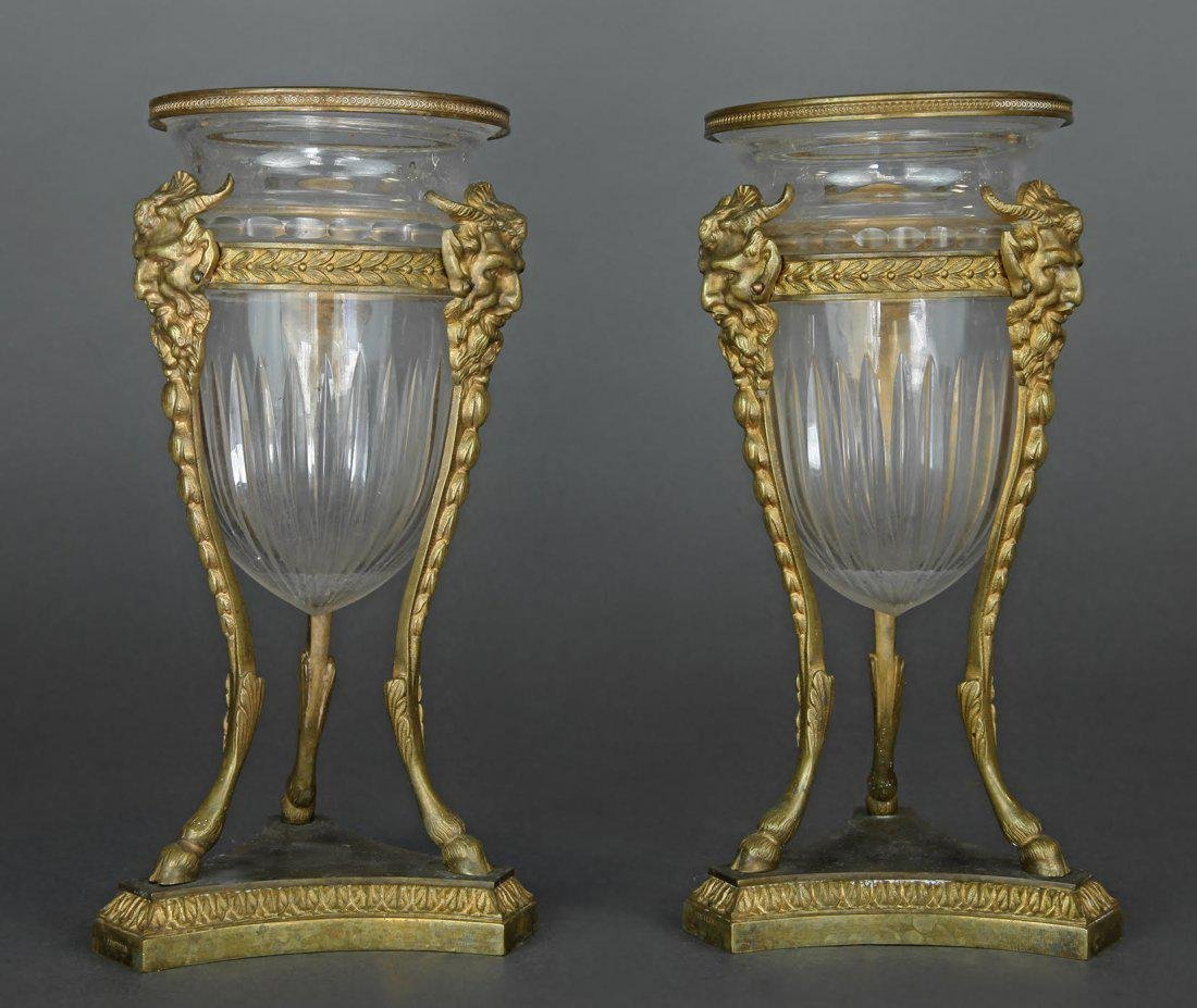 French Pair of Bronze & Baccarat Glass Vases