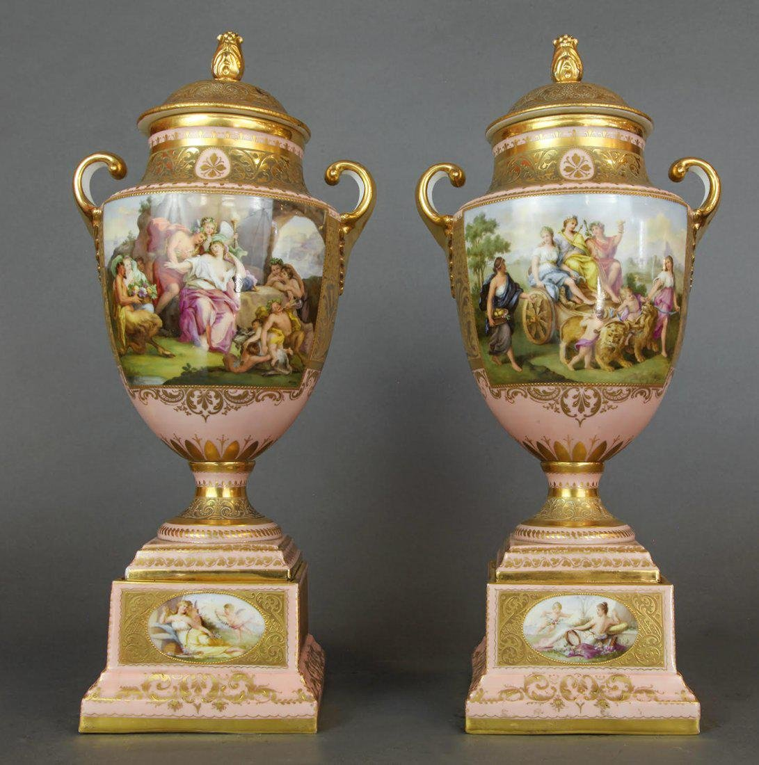 Large Pair of Hand Painted Royal Vienna Vases