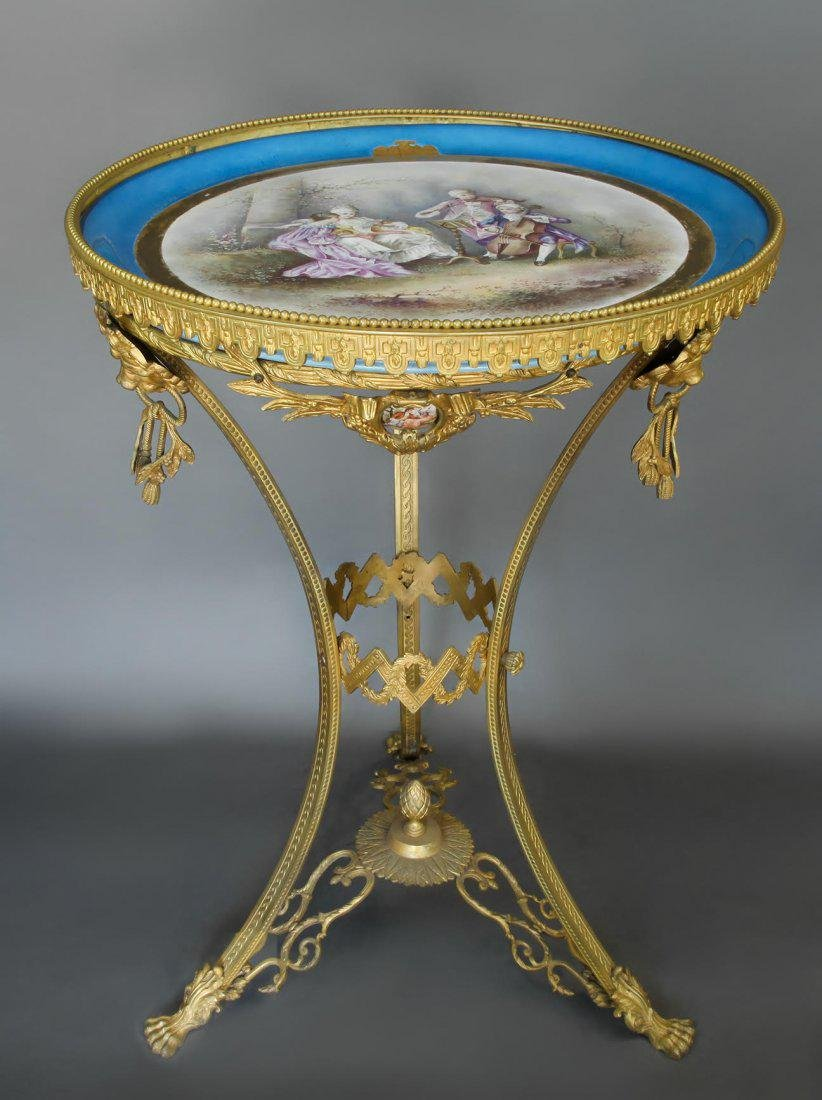 French Bronze & Sevres Porcelain Side Table. 19th C