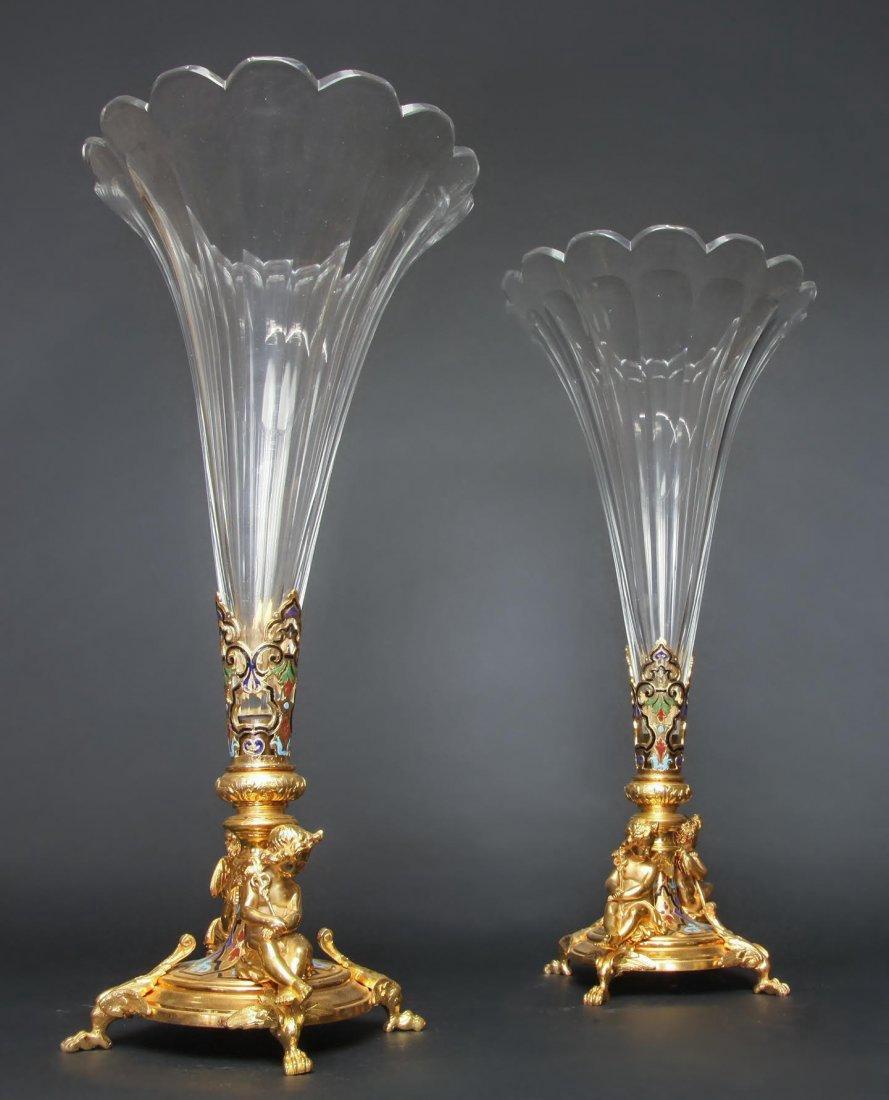 Pair of Bronze Baccarat Crystal Champleve Enamel Vases