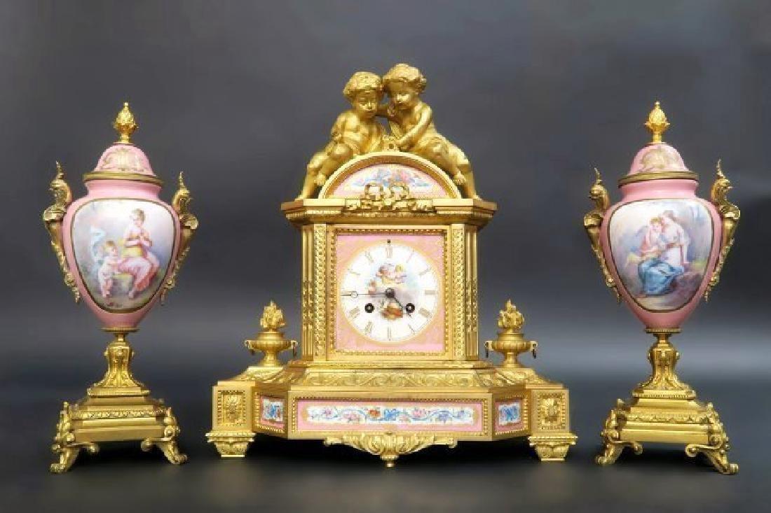 French Bronze & Sevres Porcelain Figural Clock Set. 19t