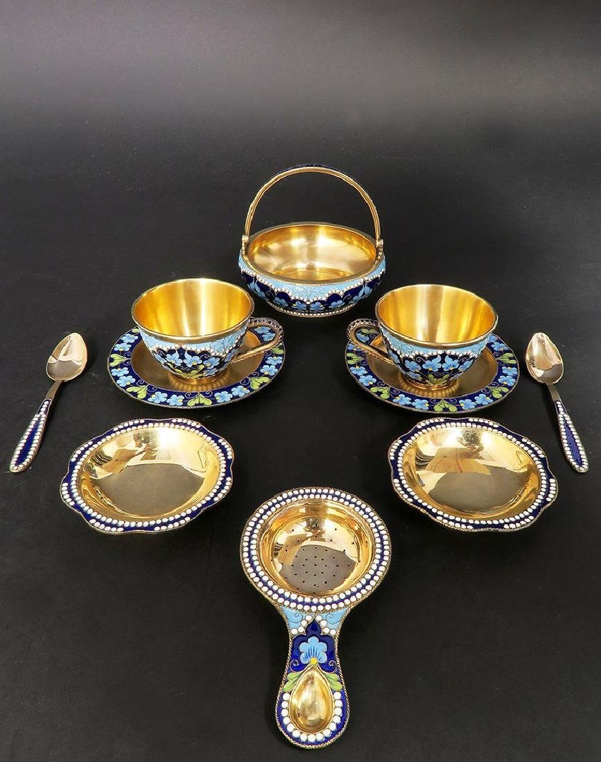 Magnificent Russian Silver gilt & Enamel Tea Set